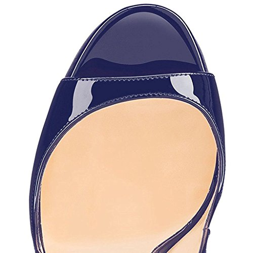 Fibbia Scarpe Donna Slingback a EDEFS Caviglia Sandali Peep Blue Toe Tacco Cinturino Spillo con HTFwwqA7