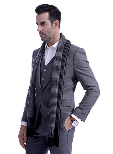 Men Business Striped Warm Scarves Long Classic Pattern Cashmere-like Scarf Stylish Casual Men Neckerchief Black by Panegy (Image #2)