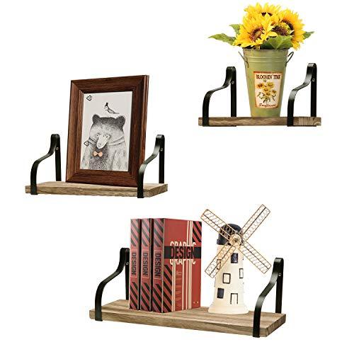 Oyeye Floating Shelves Wall Mounted Set of 3, Rustic Wood Storage Shelves for Bathroom, Living Room, Bedroom, Kitchen, Office