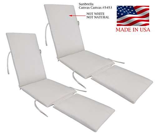 Made in USA Outdoor Sunbrella Canvas Canvas #5453 Steamer Chair Replacement Cushion Pad (2-PACK) (Replacement Chair Steamer Cushions)