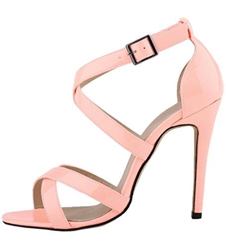 Pumps Heel Pink Women's Sandals Gladiator Peep High Toe HooH Cross Summer Sandals zOqwPzEF