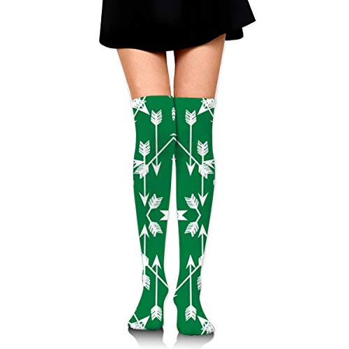 Guoxichangtuiwa Arrow Green Women's Girl's Breathable Cotton Comfortable Fashion Over The Knee High Leg Athletic Thigh Highs Socks,Cosplay -