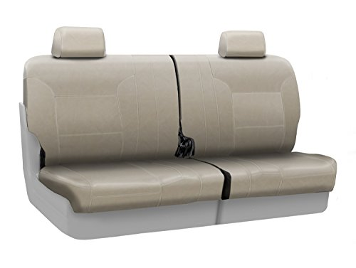 Coverking Custom Fit Rear 50/50 Split Bench Seat Cover for Select Toyota Land Cruiser Models - Genuine Leather (Beige)