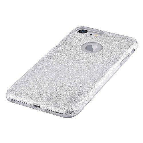 VOUNI Glitter Paper PC TPU Hybrid Tasche Hüllen Schutzhülle Case für iPhone 7 4.7 inch - Silver