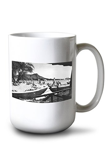 Lantern Press Hawaii - O'ahu Island; Diamond Head from Outrigger Canoe Club - Vintage Photograph (15oz White Ceramic Mug)