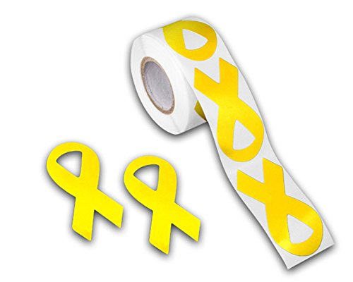 250 Childhood Cancer Awareness Large Gold Ribbon Shaped Stickers - (1 Roll - 250 Stickers)
