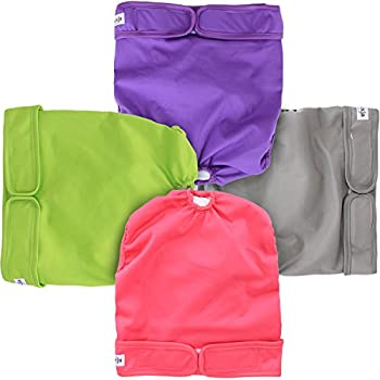 LUXJA Reusable Female Dog Diapers (Pack of 4), Washable Wraps for Female Dog (X-Large, Gray+Green+Purple+Rose Red)
