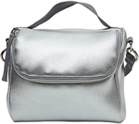 Cynthia Rowley Silver Insulated Strapped Lunch Bag or Purse