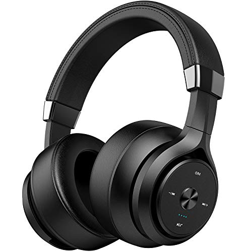 Picun P28S Dual Driver Bluetooth Headphones Over Ear 35 Hrs Playtime, CSR EQ Bass HiFi Stereo Wireless Headphones with HD Mic, Battery Indicator, Comfy Protein Earpads for Gym Cellphone TV PC (Black)