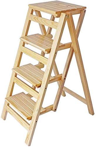BYY Taburete Hecho de Madera Maciza Taburete escalones Plegables 4 escalones Escalera de Tijera, escaleras domésticas Taburete de Bar portátil Silla de Comedor Taburete de Madera para niños y ad: Amazon.es: Hogar