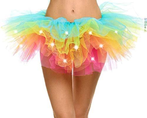 Adult's LED Light Up 5 Layered Tulle Tutu Mini Skirt, Rainbow -