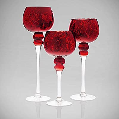 Terra Collection Red Hurricane set of 3 Centerpiece Designer Decorative Candle Holder
