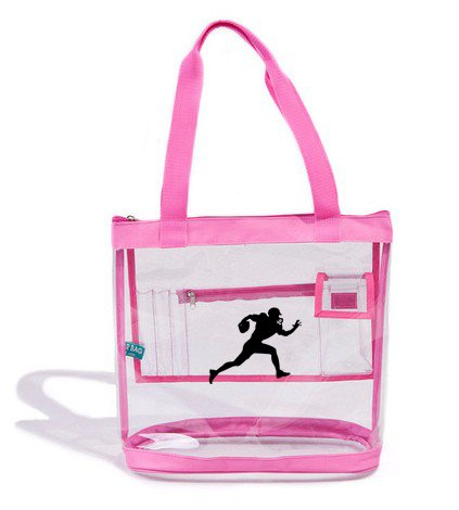 Wholesale Clear Pink Tote Bag Case of 25 Football Statium Compliant Size Player Image by The Clear Bag Store