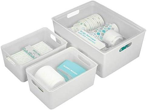 mDesign Juego de 3 cajas de almacenaje con tapa – Cajones plásticos apilables para cocina, armario, pasillo o dormitorio – Contenedores de plástico para uso doméstico – gris claro y transparente: Amazon.es: Hogar