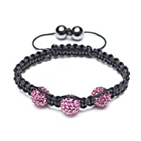 Bling Jewelry Childrens Shamballa Inspired Pave Fuchsia Crystal Bracelet