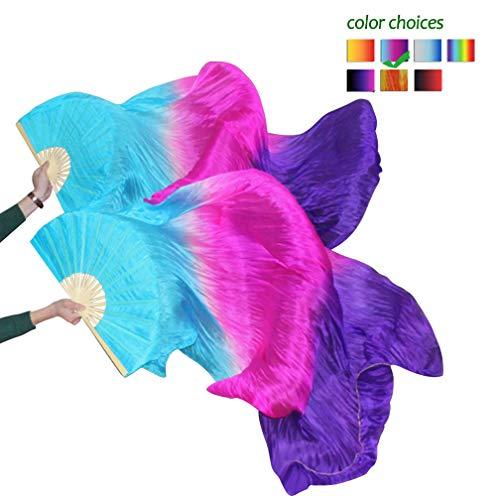 KIKIGOAL 1 Pair(Left+Right) Women Real Silk Belly Dance Fan Veil, Length 180cm Width 90cm (Gradual Purple) (Silk Fans)