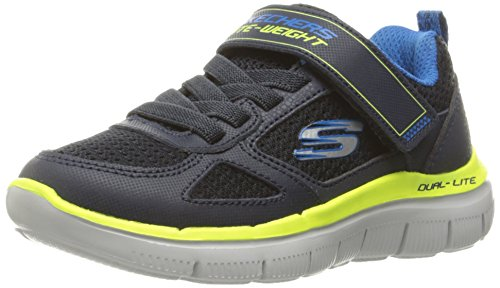 Advantage 0 Boys Trainers Skechers Lime Mesh Flex 2 Leather Breathable Navy qFExPT4x