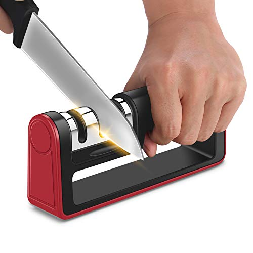 Kichen Knife Sharpener-Professional 3 Stage Manual handheld chef Knife Sharpening repair tool with Diamond slot ;Restore Polish Blades/Sharpens Dull Knives Quickly/Easy to Use,for all knives