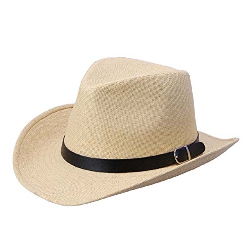 Bestpriceam® Summer Men Straw Hat Cowboy Hat (Light Brown)