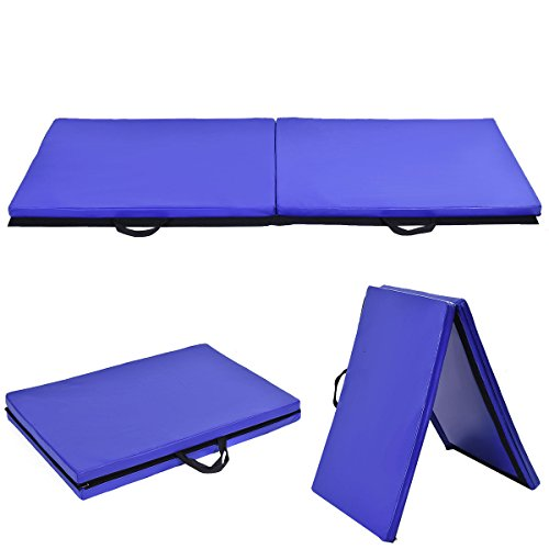 "6'x2'x1.5"" Gymnastics Mat Thick Two Folding Panel Gym Fitness Exercise Blue"