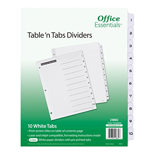 "Office Essentials Table 'n Tabs Dividers, 8-1/2"" x 11"", 1-10 Tab, Black/White Tab, Laser/Inkjet, 6 Pk (24882)"