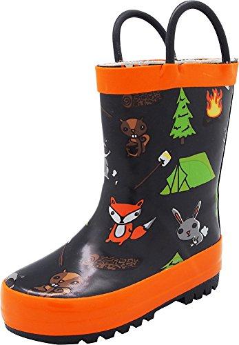 NORTY - Girls Campfire Waterproof Rainboot, Black, Orange 40675-2MUSLittleKid -