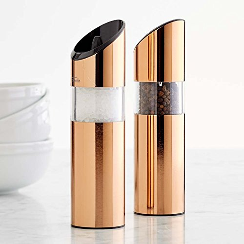 Trudeau Graviti Battery Operated Salt & Pepper Mill Set (Copper Gold)