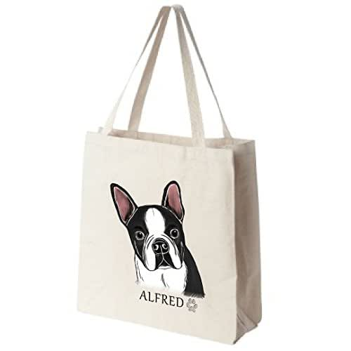 Cotton Canvas Reusable Tote Bag - Black And White Boston Terrier Portrait - Choose Your Breed