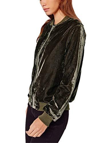 Bomber Chic Autunno Cute Fashion Casual Di Eleganti Primaverile Giacca Cerniera Monocromo Cappotto Giubbino Outerwear Manica Armgrün Donna Moda Pilot Velluto Classiche Lunga Confortevole Con PBqw7