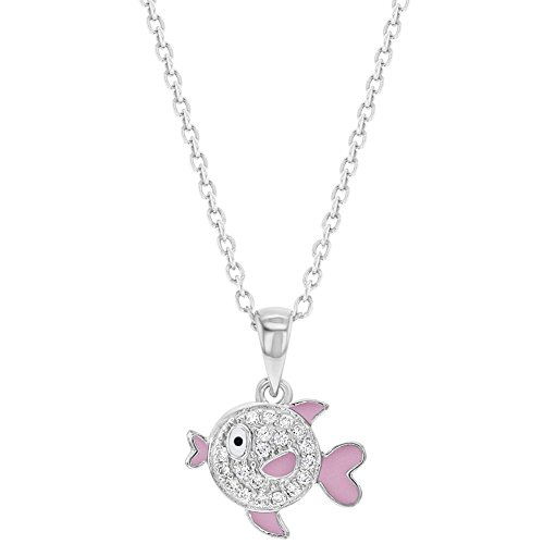925 Sterling Silver Clear CZ Pink Enamel Fish Necklace Pendant for Girls 16