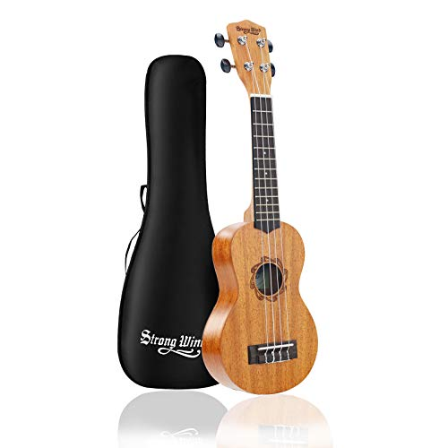 Strong Wind Soprano Ukulele for Beginners,Mahogany 21 Inch Hawaiian Starter Uke Kids Guitar Ukalalee With Gig Bag