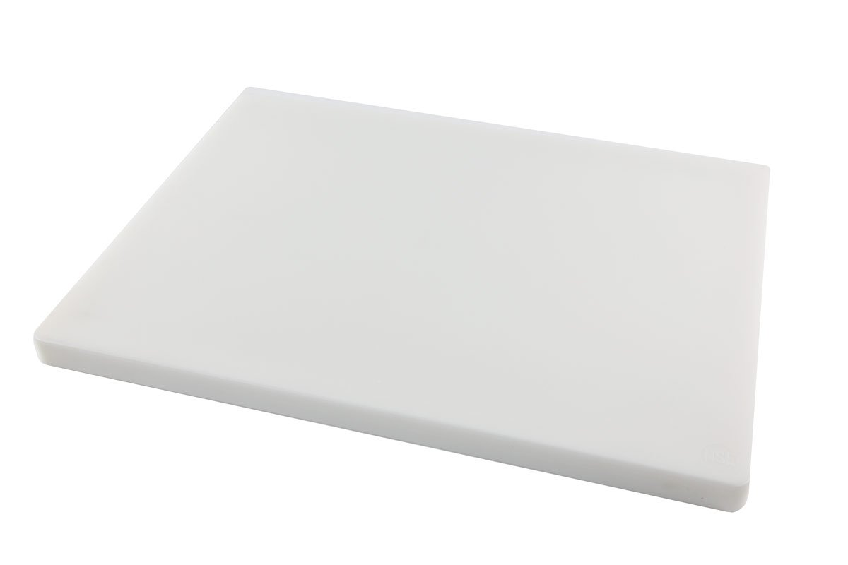 Restaurant Thick White Plastic Cutting Board, NSF, FDA Approved - 18 x 12 x 1 Inch