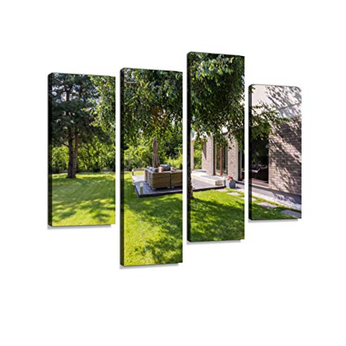 (Sunny Garden Ideal for Summer barbecues Canvas Wall Art Hanging Paintings Modern Artwork Abstract Picture Prints Home Decoration Gift Unique Designed Framed 4 Panel)