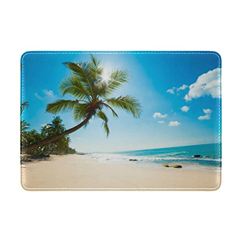 Kids Beach Cover (Cooper girl Tropical Hawaiian Beach Passport Cover Holder Case Leather Protector for Men Women Kid)