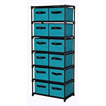 "Homebi Storage Chest Shelf Unit 12-Drawer Storage Cabinet with 6-Tier Metal Wire Shelf and 12 Removable Non-woven Fabric Bins in Turquoise,20.67""W x 12""D x49.21""H"