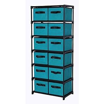 Etonnant Homebi Storage Chest Shelf Unit 12 Drawer Storage Cabinet With 6 Tier Metal  Wire