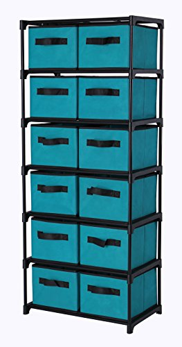Storage Furniture Tower (Home-Like 12-Drawer Chest Fabric Dresser Chest of Drawers 6 Tier Storage Organizer Tower Storage Unit Metal Shelf with 12 Removable Fabric Bins Ideal for Home Office Dorm Bedroom Nursery (Turquoise))