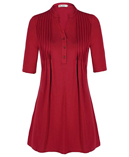 dressole-women-tops-vintage-v-neck-half-sleeve-button-pleated-tunic-wine-red-l
