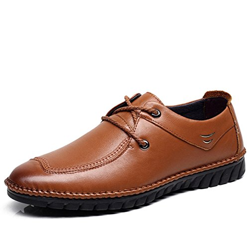 GRRONG Zapatos De Cuero De Los Hombres Del Ocio Del Cuero Genuino Transpirable Brown Brown