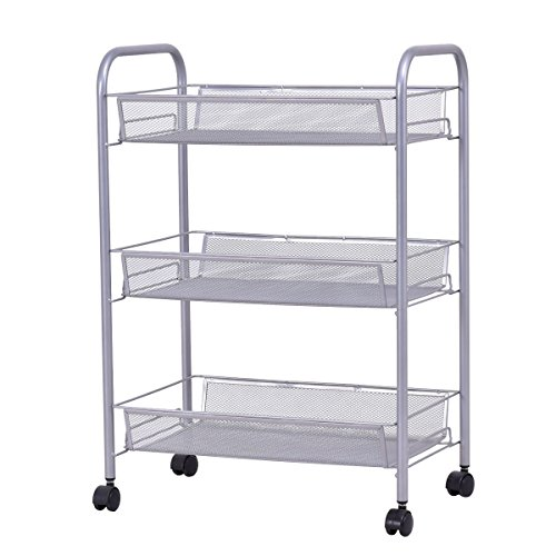 Trolley Utility (Giantex Storage Rack Trolley Cart Home Kitchen Organizer Utility Baskets (3 Tier, Silver))