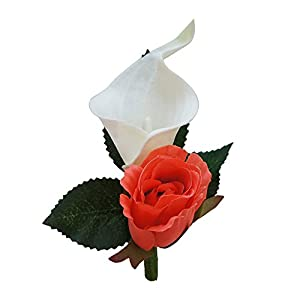 Boutonniere For Wedding And Prom(XLCLBN006-CR) - Artificial Flowers - nice quality calla lily and rose for wedding and prom (Coral) 60