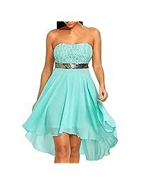 DIOMOR Elegant Chiffon Lace Strapless High Low Hem Bridesmaid Corset A Line Dress Bandeau Backless Dresses for Women
