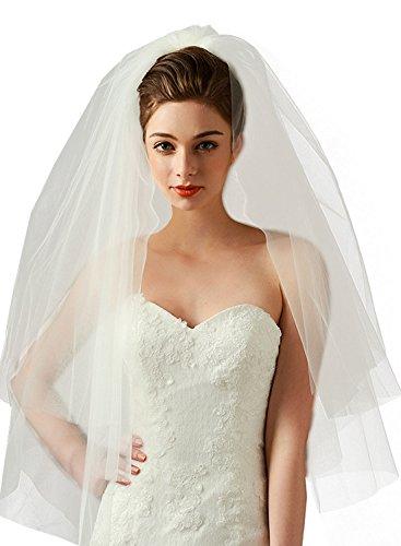 Women's Simple 2 Tier Cut Edge Bridal Wedding Veil with Comb Fingertip Length 34