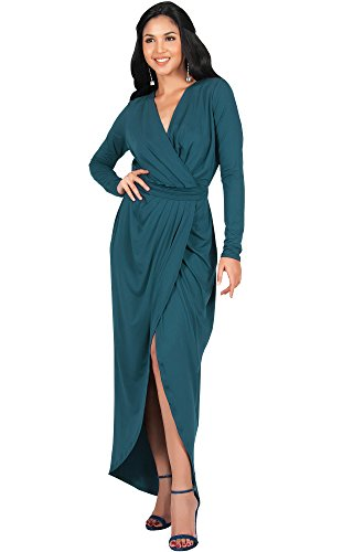 KOH KOH Womens Long Sleeve Full Length V-Neck Sexy Wrap Empire Waist Formal Winter Fall Cocktail Wedding Evening Gown Gowns Maxi Dress Dresses, Emerald Green M 8-10