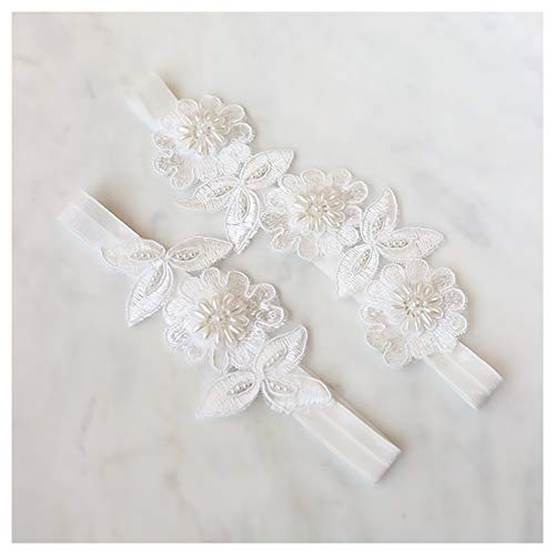 yanstar Wedding Bridal Garter White Stretch Lace Pearls Bridal Garter Sets Wedding ()