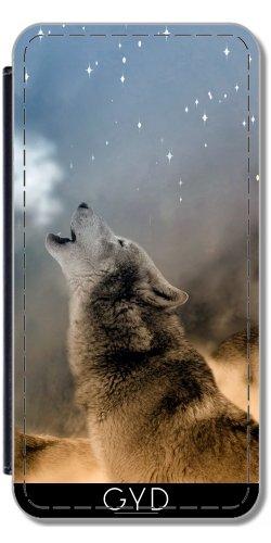 Leder Flip Case Tasche Hülle für Apple Iphone 7 / Iphone 8 - Wolf Tier Wildtier Niedlich by Grab My Art