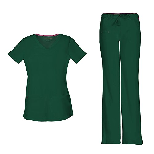 (HeartSoul Women's Pitter-Pat Shaped V-Neck Scrub Top 20710 & Heartbreaker Heart Soul Drawstring Scrub Pants 20110 Medical Scrub Set (Hunter - Medium/Small Petite))
