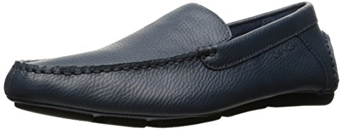 Calvin Klein Men's Miguel Tumbled Leather Oxford, Navy, 11.5 M (Navy Tumbled Leather)