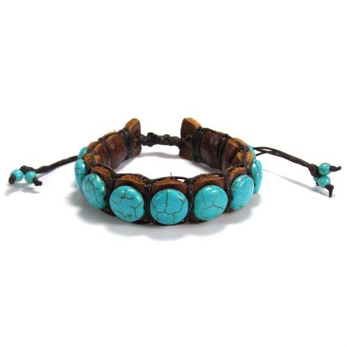 (AeraVida Bohemian Round Simulated Turquoise Leather Adjustable Wrist Pull Bracelet )