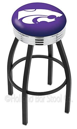"Logo Series Bar Stool NCAA Team: Kansas State University, Size: 25"", Frame Type: Solid Welded Chrome"